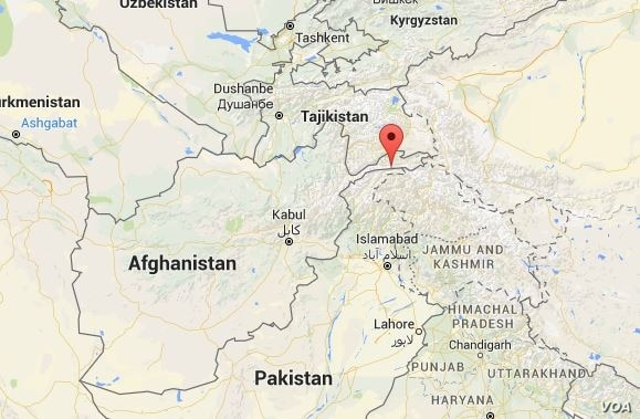 The red arrow marks the approximate area in the Hindu Kush region of Afghanistan where a 6.6-magnitude earthquake struck.