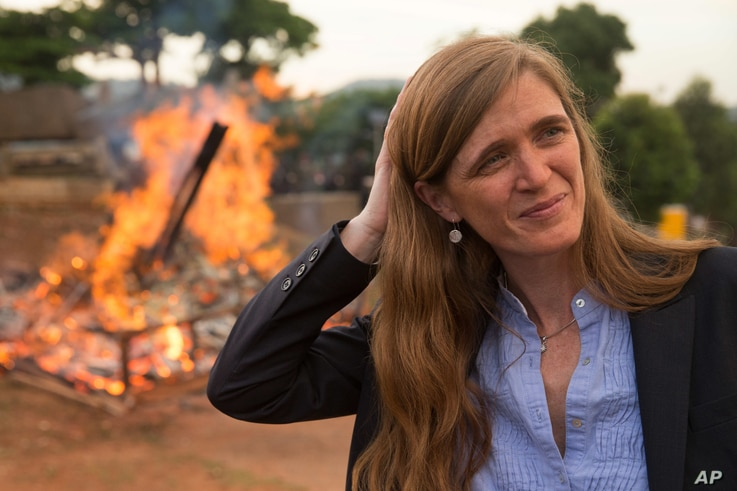 U.S. Ambassador to the United Nations Samantha Power stands near the first Cameroon Ivory Burn at the Palais des Congres in Yaounde, Cameroon, which was lit to highlight the need to halt the Ivory trade in order to save Africa's elephants, April 19, ...