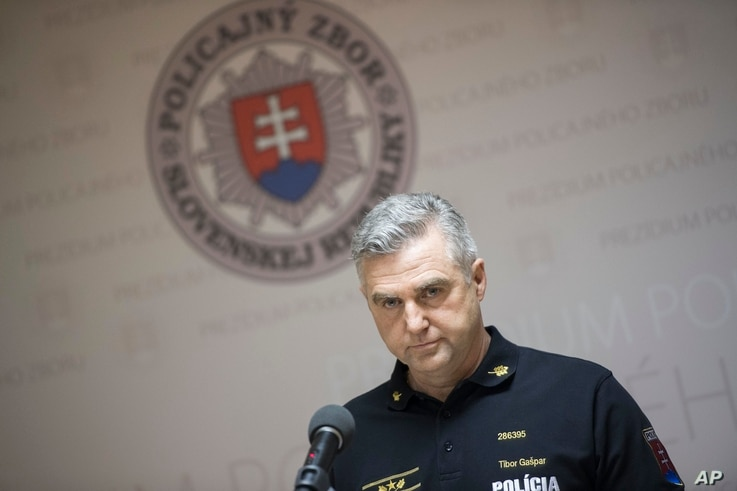 President of the Police Force Tibor Gaspar gives a press conference on the latest information in the investigation of the murder of journalist Jan Kuciak and his fiancee in Bratislava, Feb. 28, 2018.
