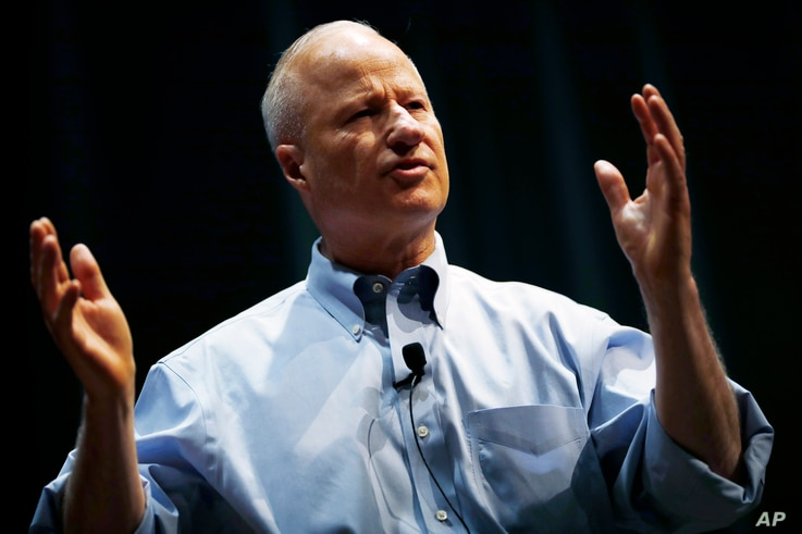U.S. Rep. Mike Coffman, R-Colorado, talks during a town hall meeting with constituents, Feb. 20, 2018, in Greenwood Village, Colo. Coffman is among the moderate GOP members of Congress trying to force a vote on immigration legislation.
