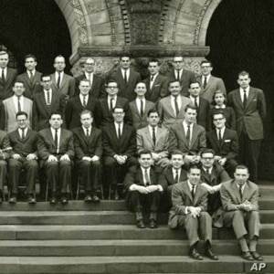 Detail of Harvard Law Review Board of Editors, 1957-1958. Ruth Bader Ginsburg (far right) was one of only two women on the prestigious panel.
