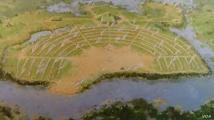This painting of the Poverty Point Mound site depicts the raised concentric half-circles, where archeologists believe people built their homes.