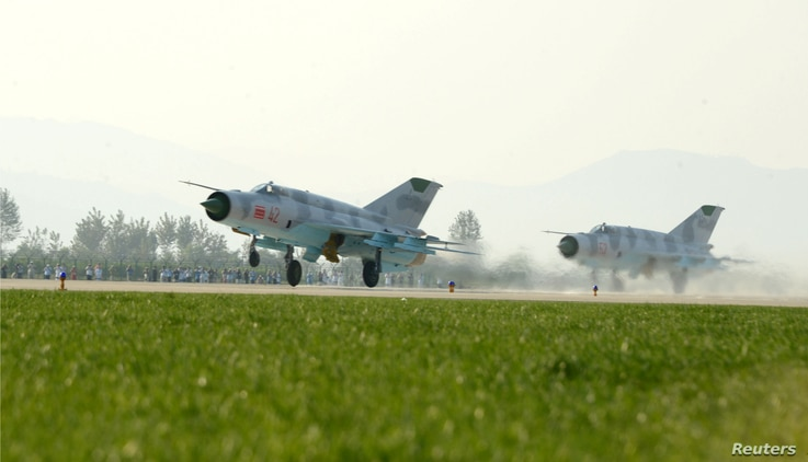 Planes are seen during the Wonsan Air Festival 2016 in Wonsan, in this undated photo released by North Korea's Korean Central News Agency (KCNA) in Pyongyang on September 26, 2016.