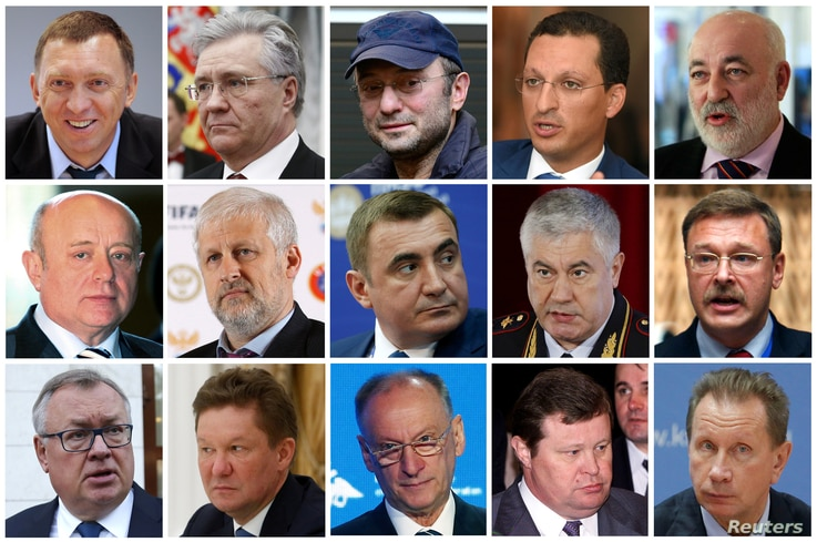 A combination of file photos show prominent Russian businessmen and officials on a U.S. sanctions list released by the U.S. Treasury Department in Washington, D.C. April 6, 2018.