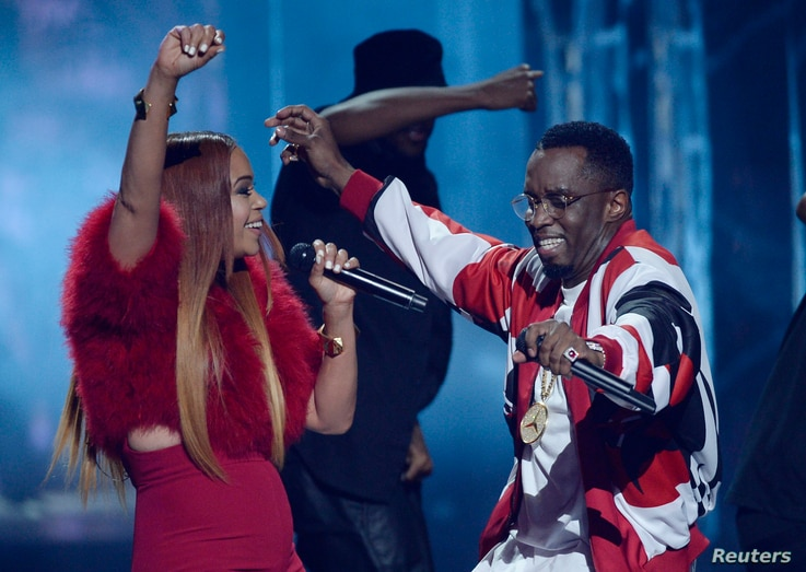 "Faith Williams and Sean ""Diddy"" Combs perform during the 2015 BET Awards in Los Angeles, California, June 28, 2015."