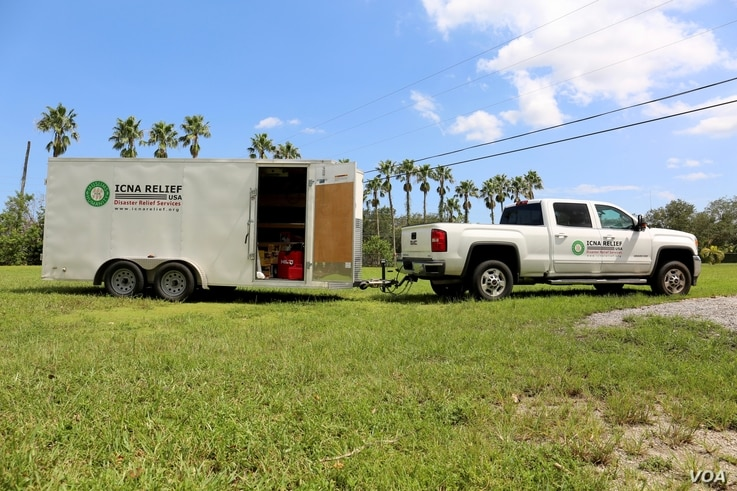 The Islamic Circle of North America has set up its Relief USA trailer in Cooper City, Florida.