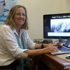 Robin Bell in her office at the Lamont-Doherty Earth Observatory