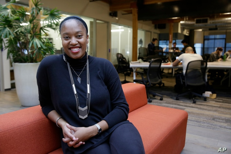 Aniyia Williams, founder and CEO of Tinsel, poses at the offices of Galvanize in San Francisco, Jan. 3, 2017.