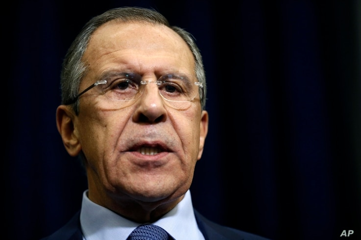 Russian Foreign Minister Sergey Lavrov speaks to the media about a Russian jet fighter being shot down by Turkish forces, in Sochi, Russia, Nov. 24, 2015.