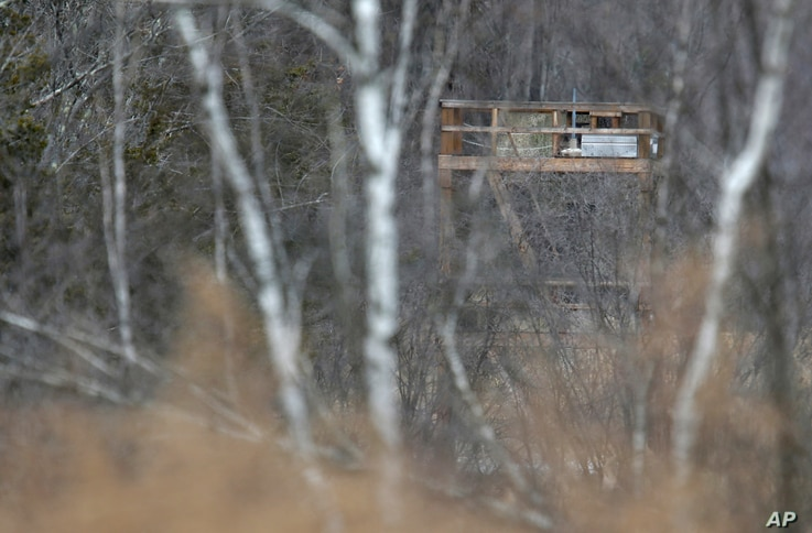 FILE - A large tower seen from a public road is visible through the trees at Leather Hill Preserve in Wingdale, New York, Feb. 1, 2018. A company tied to Donald Trump Jr. and Eric Trump owns the 171-acre hunting preserve that is being used as a priva...