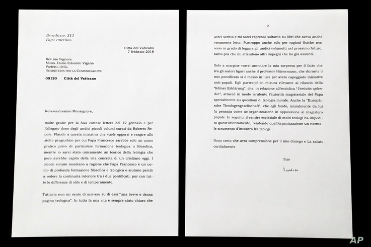 This photo shows a complete copy of a letter by Emeritus Pope Benedict XVI about Pope Francis that the Vatican released March 17, 2018, after coming under criticism for previously selectively citing it in a press release and digitally manipulating a ...
