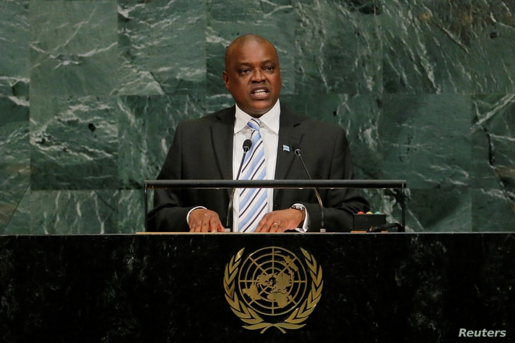 FILE PHOTO: The then vice president of the Republic of Botswana, Mokgweetsi Masisi, addresses the United Nations General Assembly at U.N. headquarters in New York, Sept. 21, 2017.