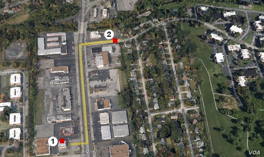 Ferguson, Missouri, map that shows #1) Ferguson Market and Liquors and #2) Canfield Drive, approximate site where Michael Brown was shot.