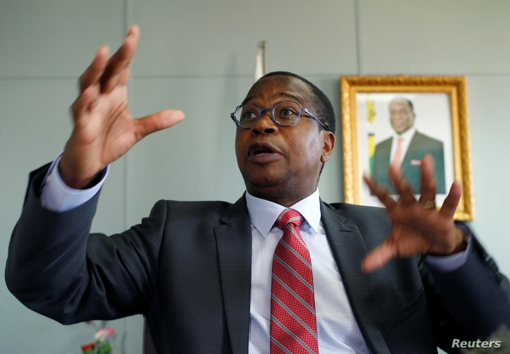 Finance Minister Mthuli Ncube gestures during a media briefing in Harare, Zimbabwe, Oct. 5, 2018.