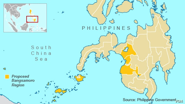 Philippines map, proposed Bangsamoro area defined