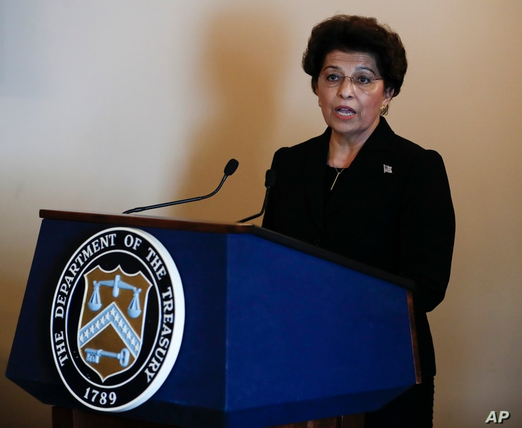 Jovita Carranza,the 44th Treasurer of the U.S., speaks during a ceremony June 19, 2017, at the Treasury Department in Washington, after taking the oath of office.
