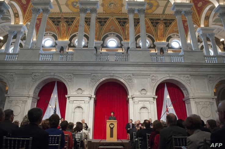 FILE - Princess Anne speaks during the opening of an exhibition celebrating the 800th anniversary of the Magna Carta at the Library of Congress in Washington, DC, November 6, 2014. The exhibition featured the Lincoln Cathedral Magna Carta, one of onl...