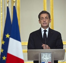 French President Nicolas Sarkozy delivers a speech, March 19, 2011 at the Elysee Palace in Paris after a crisis summit on Libya