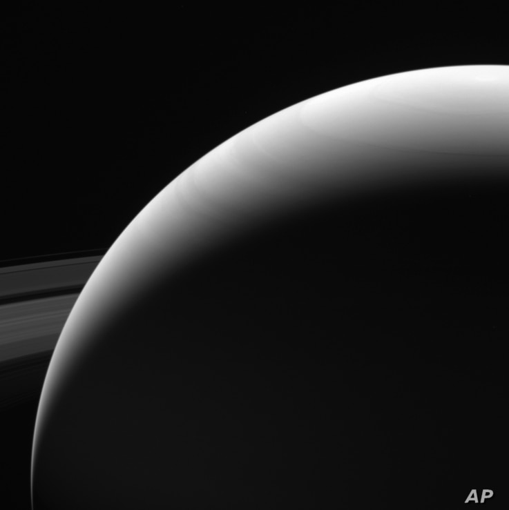 This Sept. 13, 2017, image made available by NASA on Sept. 15, 2017, shows the northern hemisphere of Saturn as seen from the Cassini spacecraft on its descent towards the planet.
