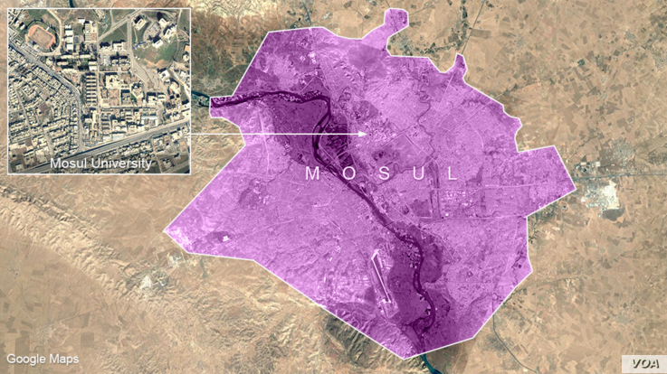Map and location of Mosul University