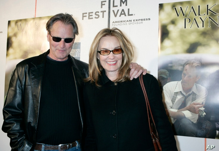 """FILE - Sam Shepard and Jessica Lange as they arrive to the premiere of his film, """"Walker Payne,"""" during the Tribeca Film Festival in New York, April 26, 2006."""