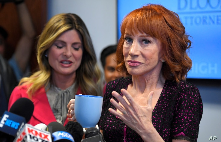 Comedian Kathy Griffin, right, speaks along with her attorney Lisa Bloom during a news conference, June 2, 2017, in Los Angeles, to discuss the backlash since Griffin released a photo and video of her displaying a likeness of President Donald Trump's...