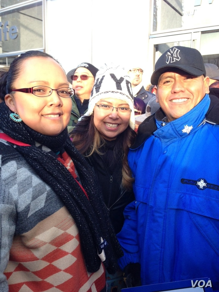 April Draper Uentillie, left, her sister Tierra Draper, center, and husband, Orlando Uentiliie, Native Americans of the Navajo Nation who live in New Mexico, traveled to New York to see their brother, Spike who is performing in the Macy's Thanksgivin...