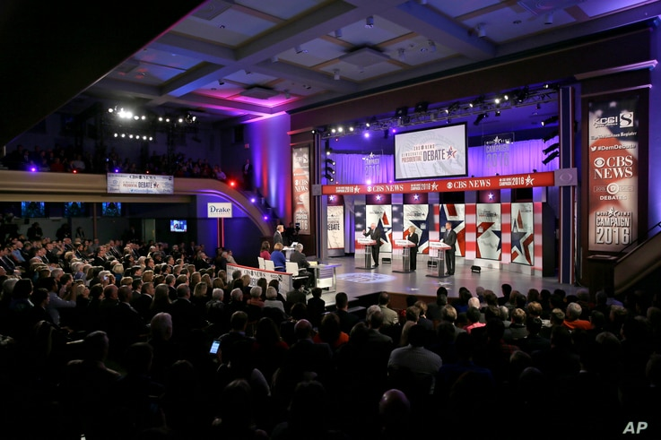 Democratic presidential candidates appear during a Democratic presidential primary debate, Nov. 14, 2015, in Des Moines, Iowa.