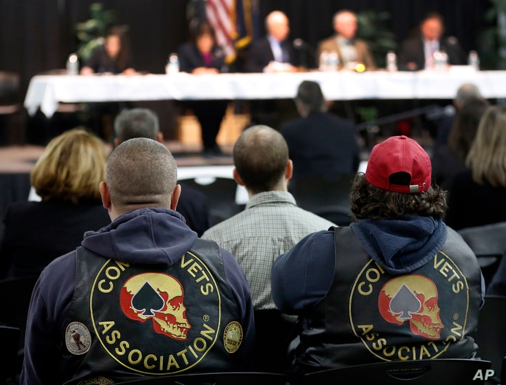 Veterans listen as the House Veterans' Affairs Subcommittee on Oversight and Investigations holds a hearing in Concord, New Hampshire, March 4, 2016.