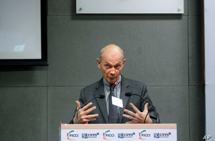 IOn Jan. 29, 2013, WTO director general Pascal Lamy speaks during a WTO gathering in New Delhi, India.