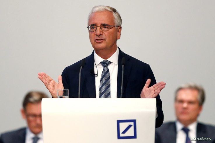 Deutsche Bank's Supervisory Board Chairman Paul Achleitner gestures as he addresses the audience during the bank's annual meeting in Frankfurt, Germany, May 24, 2018.