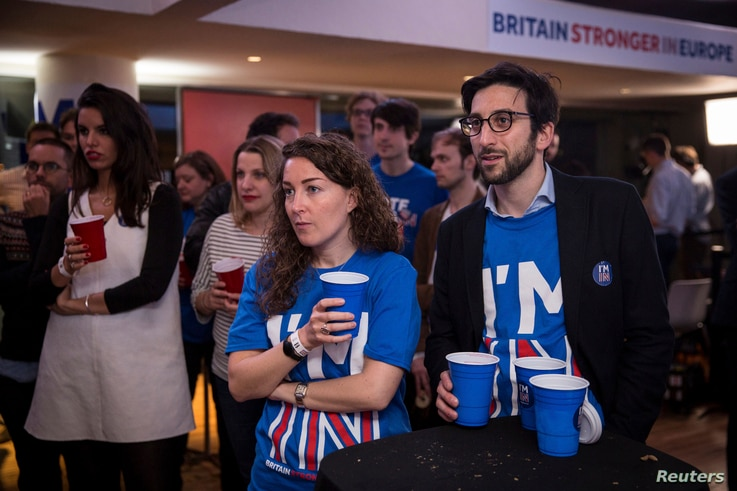 Supporters of the Stronger In Campaign react as results of the EU referendum are announced at the Royal Festival Hall, in London, Britain, June 24, 2016.