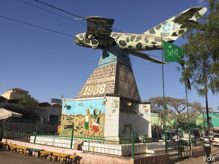 Memorial to victims of Somaliland's civil war from 1988 to 1991, in Hargeisa, Somaliland, March 29, 2016. (J. Craig/VOA)