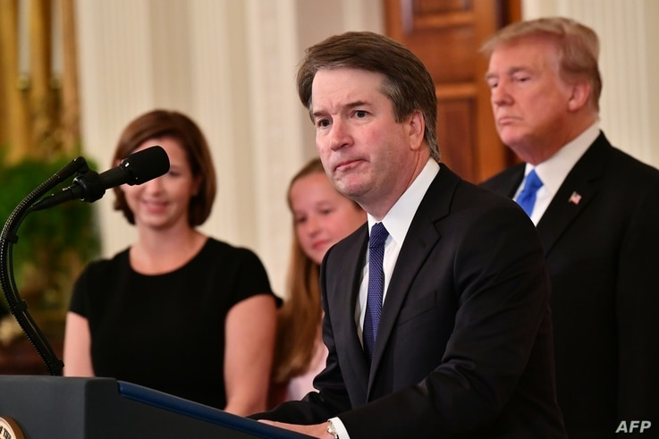 Supreme Court nominee Brett Kavanaugh speaks after US President Donald Trump announced his nomination in the East Room of the White House on July 9, 2018 in Washington, DC.
