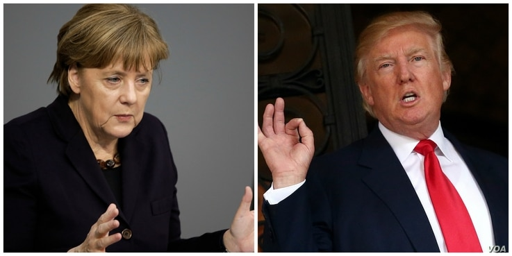 FILE - German Chancellor Angela Merkel and President-elect Donald Trump are shown in this composite image created from wire photos.