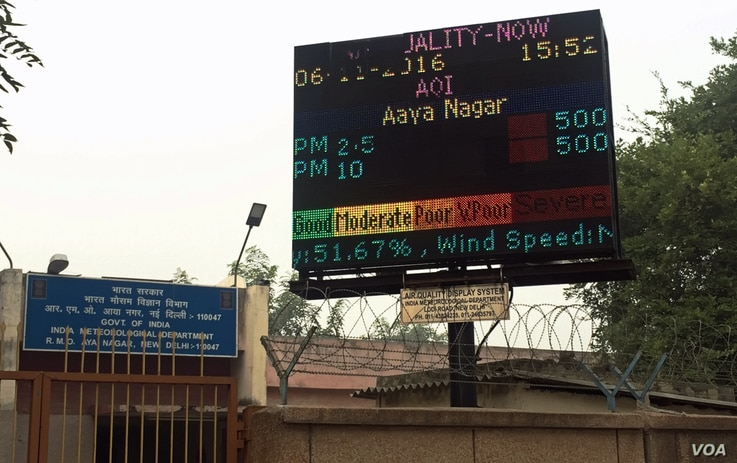 Air pollution monitoring boards in Delhi, India, show readings of deadly pollutants such as particulate matter at severe levels, Nov. 6, 2016.