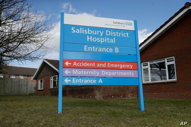 A entrance sign stands outside Salisbury Memorial Hospital where former Russian double agent Sergei Skripal and his daughter, Yulia, were taken after being found critically ill March 4, 2018, in Salisbury, England.