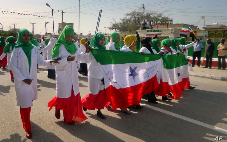 Women march in a procession to celebrate the 25th anniversary of proclaimed independence in the capital Hargeisa, Somaliland, a breakaway region of Somalia, May 18, 2016.