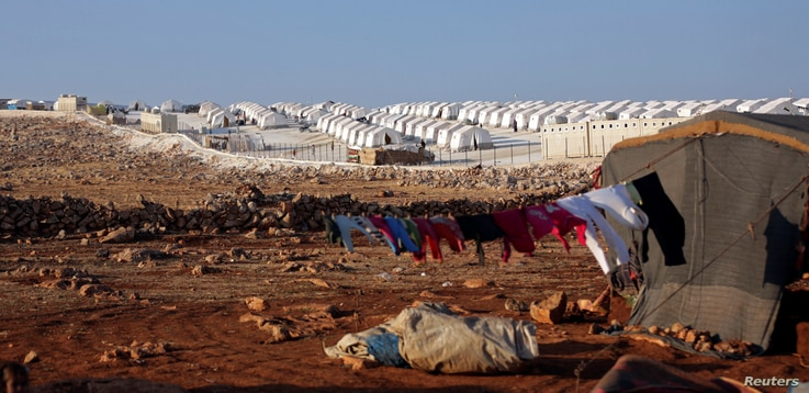 A general view of a camp for internally displaced persons, in Atimah village, Idlib province, Syria, Sept. 11, 2018.