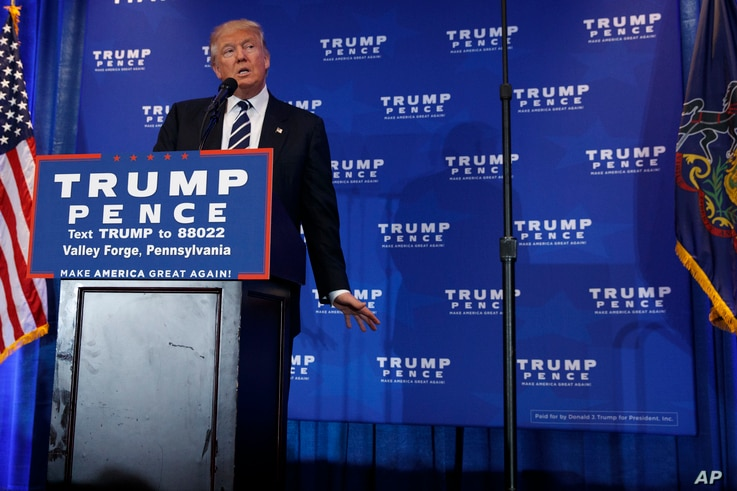 Republican presidential candidate Donald Trump speaks at a campaign rally in King of Prussia, Pennsylvania, Nov. 1, 2016.