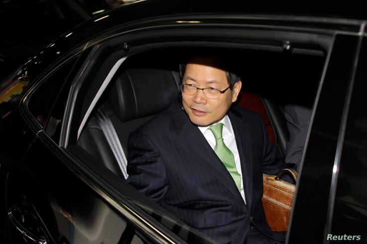 FILE - South Korea's then-Vice Foreign Minister Chun Yung-woo arrives at Beijing airport in 2010. Yung-woo was national security adviser to former President Lee Myung-bak until 2013.