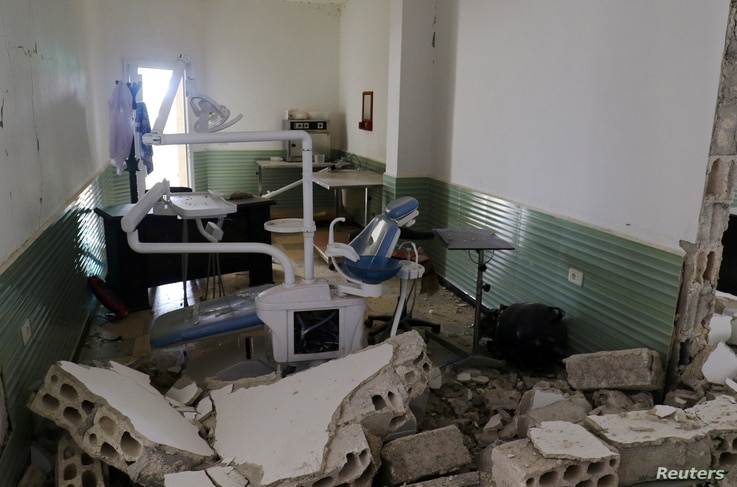 A view shows the damage at a hospital after an airstrike in Deir al-Sharqi village in Idlib province, Syria, April 27 2017.