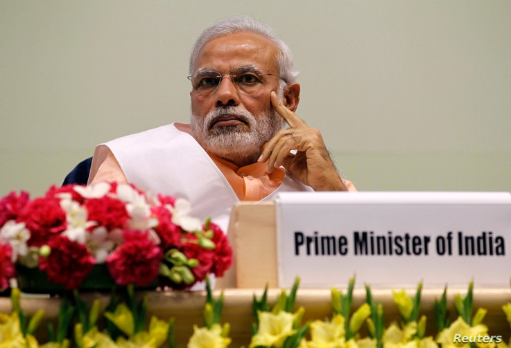 India's Prime Minister Narendra Modi attends an event organised by the Christian community to celebrate the beatification of two Indians by Pope Francis late last year, in New Delhi, Feb. 17, 2015.