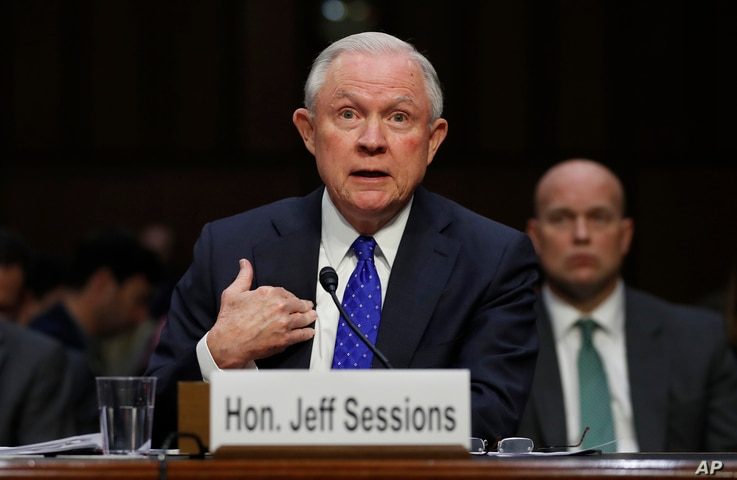 Attorney General Jeff Sessions testifies before the Senate Judiciary Committee on Capitol Hill in Washington, Oct. 18, 2017.