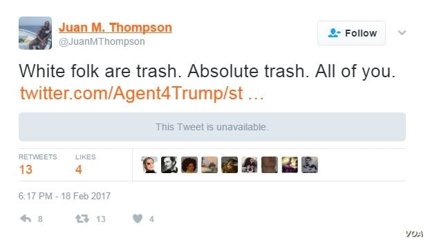 Juan Thompson's Twitter feed shows that he has a history of making racist remarks against white people and apparent comments against President Donald Trump. Thompson was arrested Friday and accused of making recent bomb threats to at least eight Je...