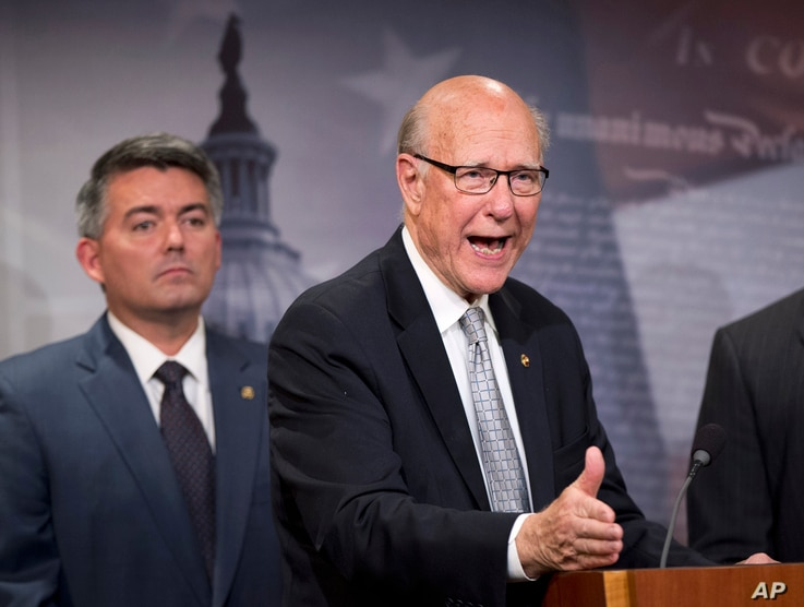 Sen. Pat Roberts (r) with Sen. Cory Gardner speaks about the Guantanamo Bay Detention Facility, Nov. 5, 2015, during a news conference on Capitol Hill in Washington.