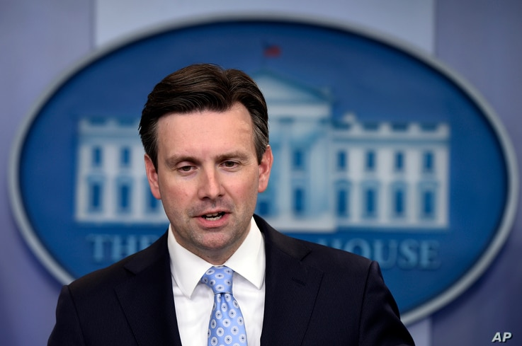 White House press secretary Josh Earnest speaks during the daily briefing at the White House in Washington, April 18, 2016.