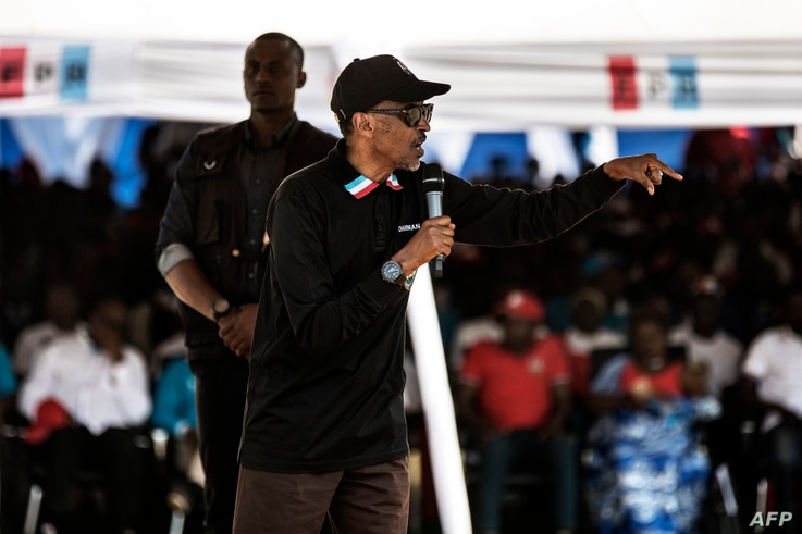 Incumbent Rwandan President Paul Kagame gives a speech during a campaign rally, July 31, 2017 in Gakenke, Rwanda, ahead of August 4 presidential election.