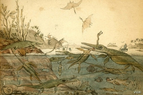 Old English painting of dinosaurs