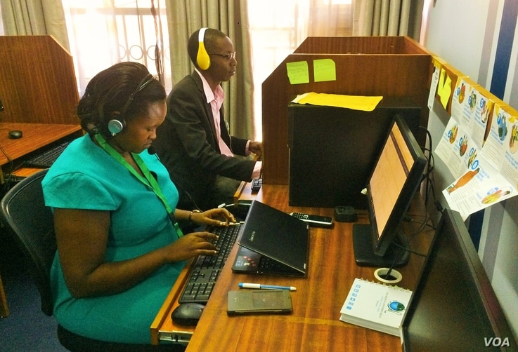 Dr. Yvette Wibabara and Pharmacist Joseph Ssebwana are working at the call center, using multiple social media platforms to answer health questions.